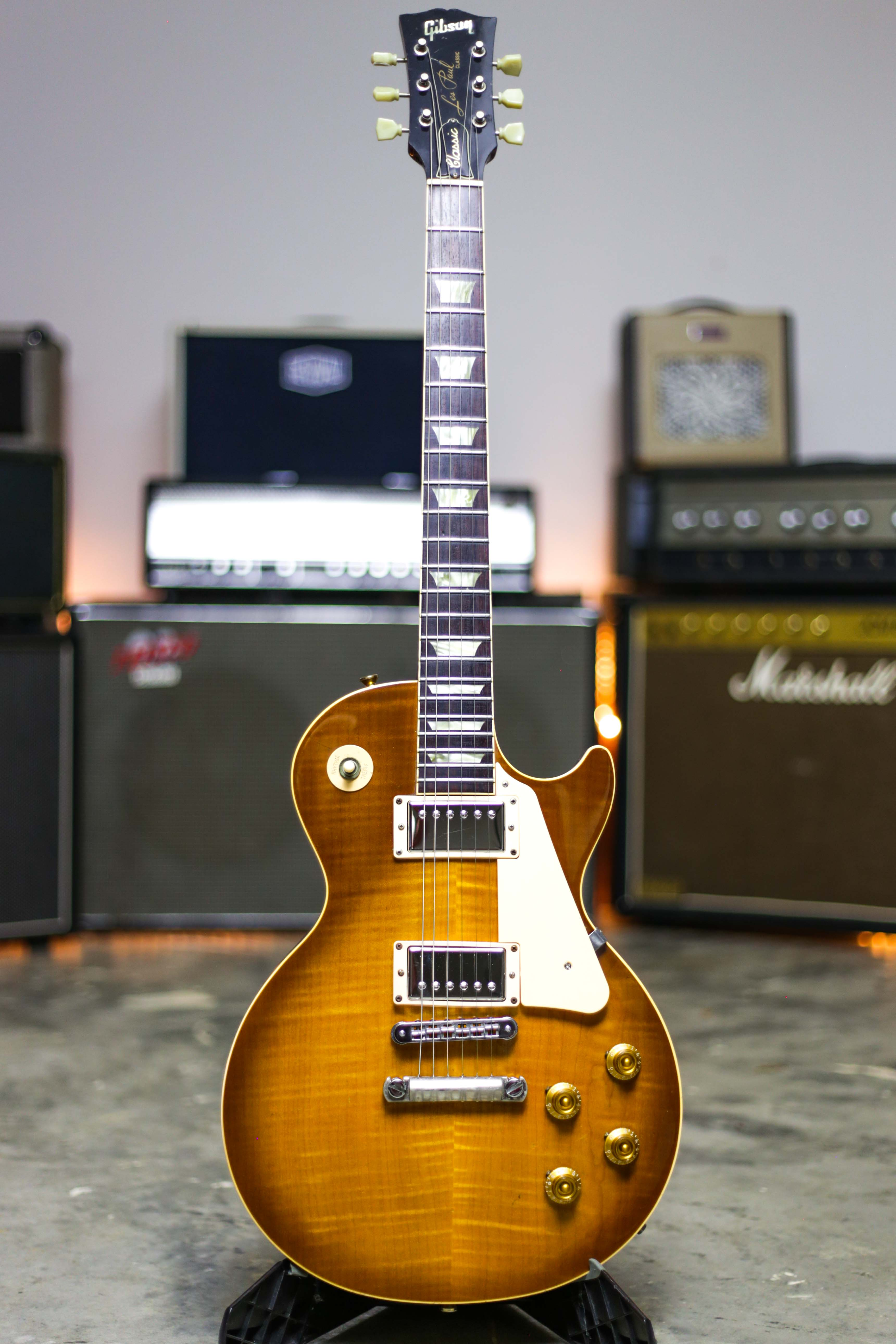 1997 gibson les paul classic honeyburst plus top grlc2049 ebay. Black Bedroom Furniture Sets. Home Design Ideas
